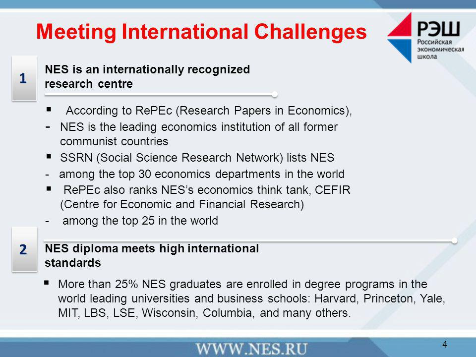 Meeting International Challenges  According to RePEc (Research Papers in Economics), - NES is the leading economics institution of all former communist countries  SSRN (Social Science Research Network) lists NES - among the top 30 economics departments in the world  RePEc also ranks NES's economics think tank, CEFIR (Centre for Economic and Financial Research) - among the top 25 in the world NES is an internationally recognized research centre  More than 25% NES graduates are enrolled in degree programs in the world leading universities and business schools: Harvard, Princeton, Yale, MIT, LBS, LSE, Wisconsin, Columbia, and many others.