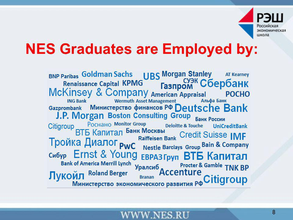 NES Professors  NES hires professors at an international job market  Recently hired professors: Михаил Другов, PhD in economics, University of Toulouse Douglas Campbell, PhD, University of California, Davis Анна Обижаева, PhD, Massachusetts Institute of Technology Андрей Савочкин, PhD in Economics, New York University, Stern School of Business РЭШ 2008 Martha Troya Martinez, Ph.D., University of Oxford 9