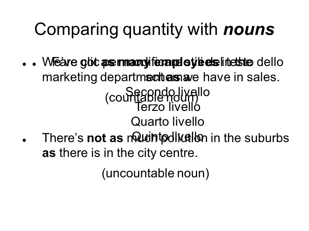 Fare clic per modificare stili del testo dello schema Secondo livello Terzo livello Quarto livello Quinto livello Comparing quantity with nouns We've got as many employees in the marketing department as we have in sales.