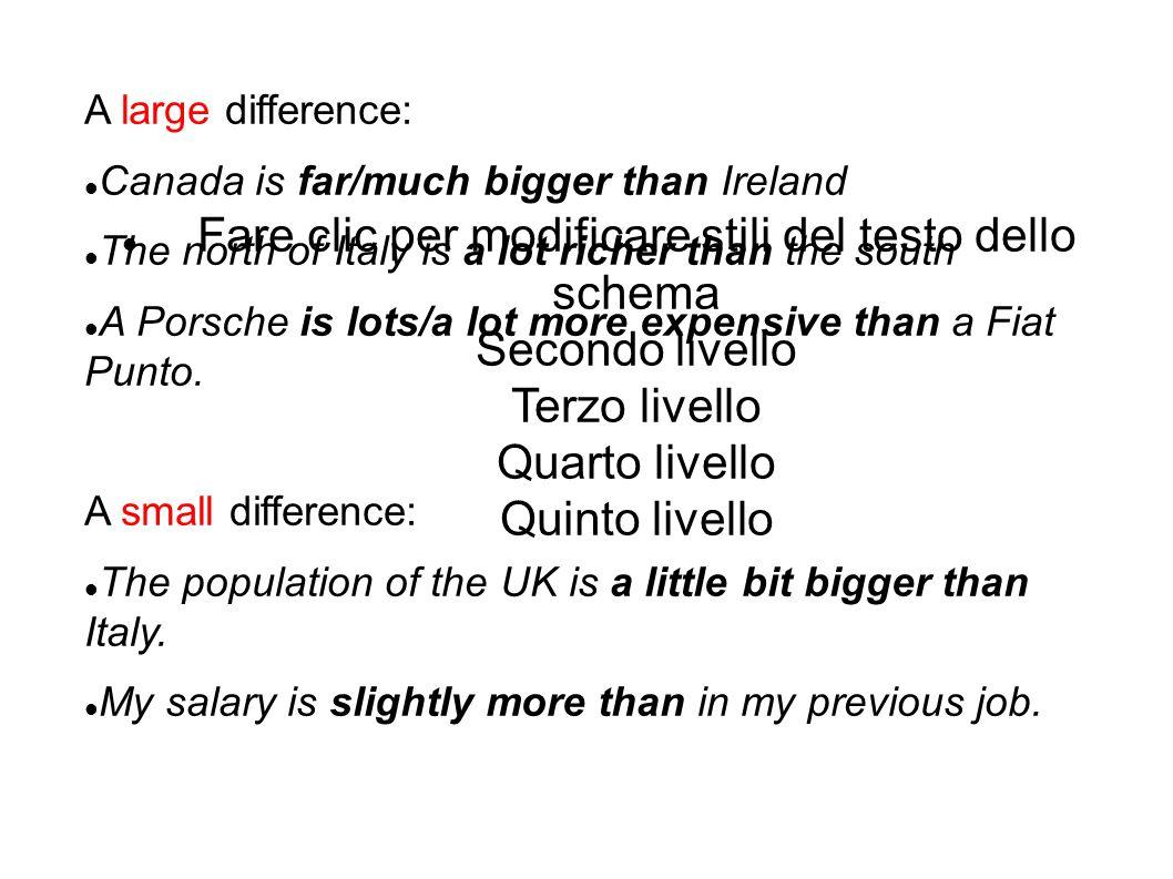 Fare clic per modificare stili del testo dello schema Secondo livello Terzo livello Quarto livello Quinto livello A large difference: Canada is far/mu