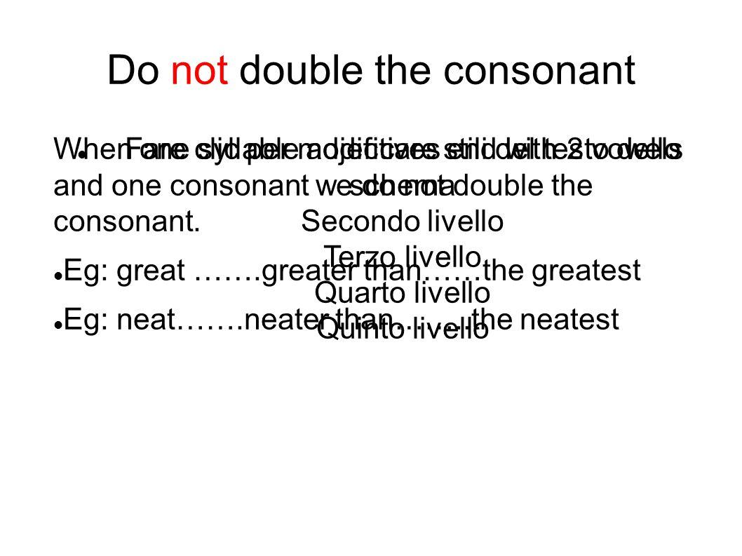 Fare clic per modificare stili del testo dello schema Secondo livello Terzo livello Quarto livello Quinto livello Do not double the consonant When one