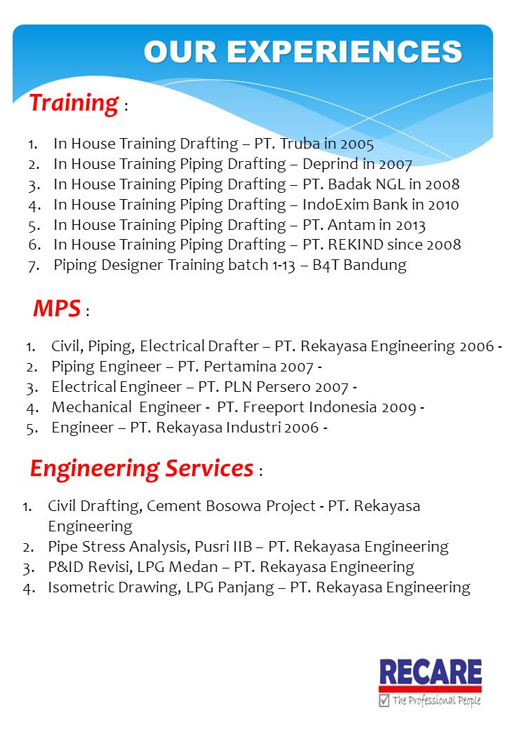 OUR EXPERIENCES Training : 1.In House Training Drafting – PT. Truba in 2005 2.In House Training Piping Drafting – Deprind in 2007 3.In House Training