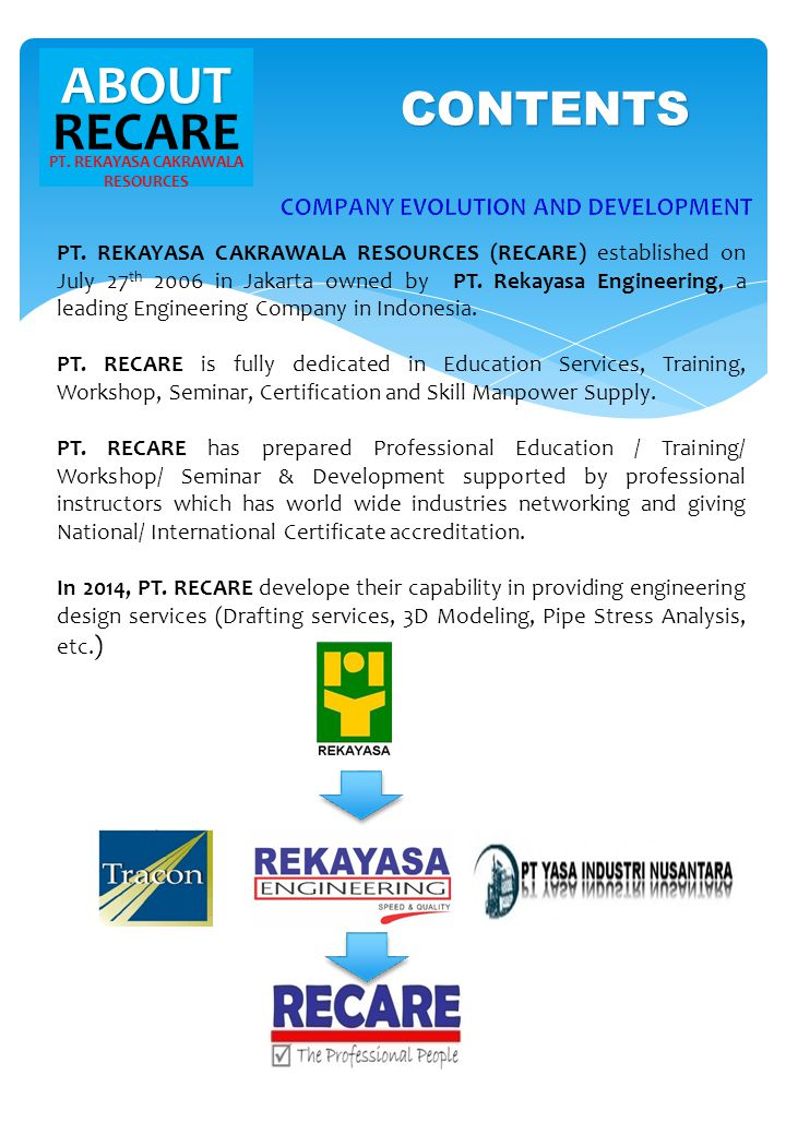 ABOUT RECARE PT. REKAYASA CAKRAWALA RESOURCES PT. REKAYASA CAKRAWALA RESOURCES (RECARE) established on July 27 th 2006 in Jakarta owned by PT. Rekayas