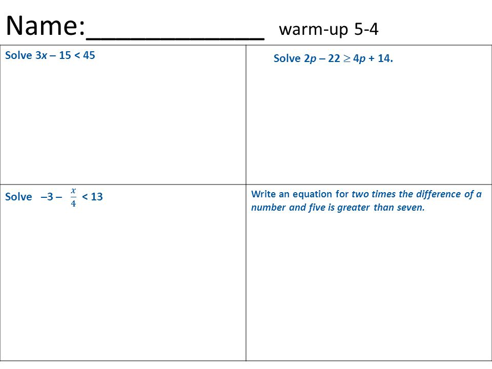 Name:____________ warm-up 5-4 Solve 3x – 15 < 45 Write an equation for two times the difference of a number and five is greater than seven.