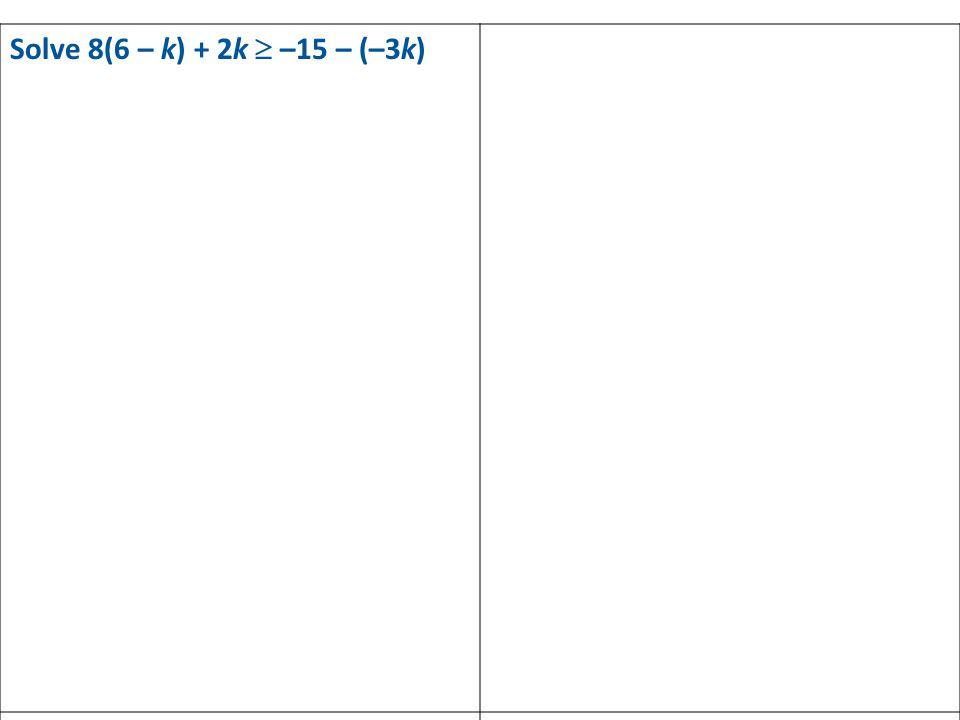 Solve 8(6 – k) + 2k  –15 – (–3k)