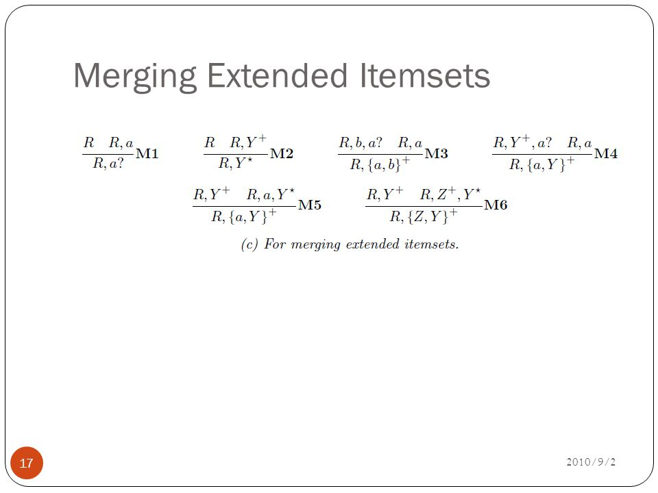 Merging Extended Itemsets 2010/9/2 17