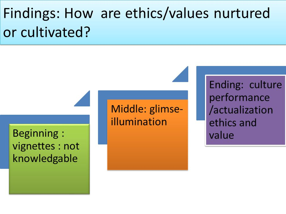 Findings: How are ethics/values nurtured or cultivated.
