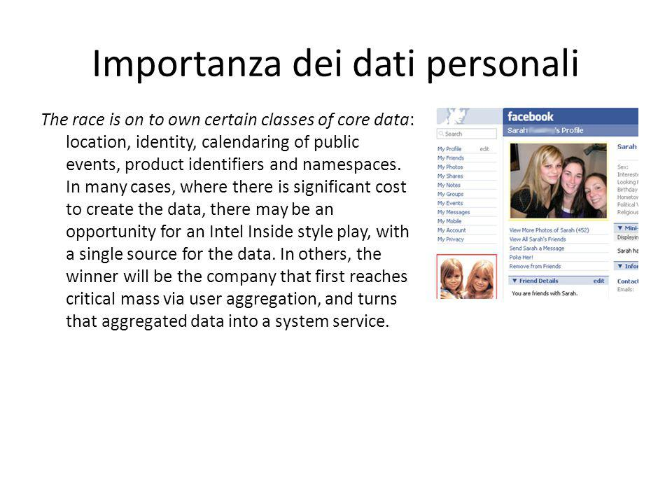 Importanza dei dati personali The race is on to own certain classes of core data: location, identity, calendaring of public events, product identifier