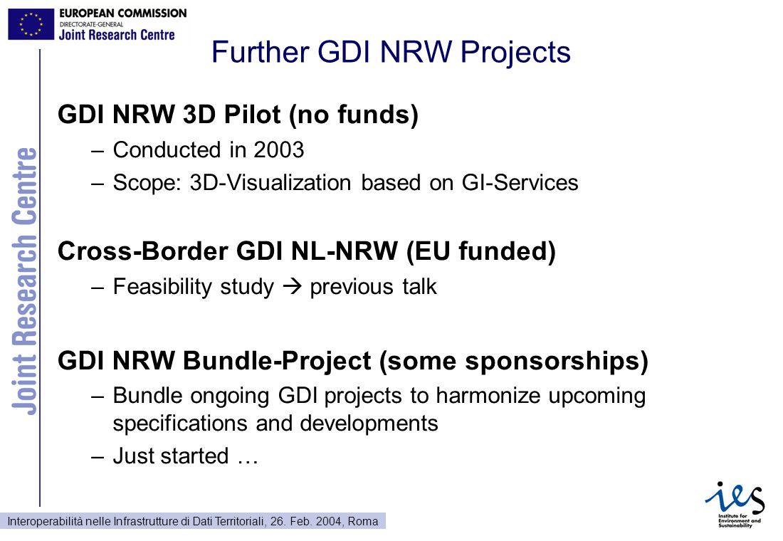 Interoperabilità nelle Infrastrutture di Dati Territoriali, 26. Feb. 2004, Roma Further GDI NRW Projects GDI NRW 3D Pilot (no funds) –Conducted in 200
