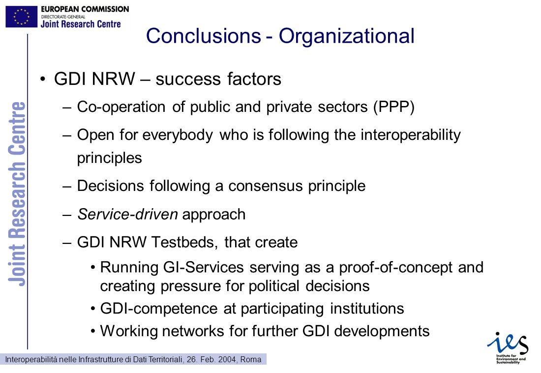 Interoperabilità nelle Infrastrutture di Dati Territoriali, 26. Feb. 2004, Roma Conclusions - Organizational GDI NRW – success factors –Co-operation o