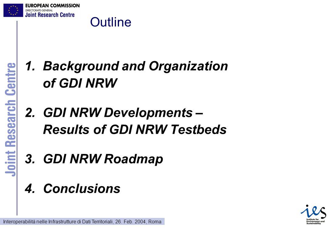 Interoperabilità nelle Infrastrutture di Dati Territoriali, 26. Feb. 2004, Roma Outline 1.Background and Organization of GDI NRW 2.GDI NRW Development