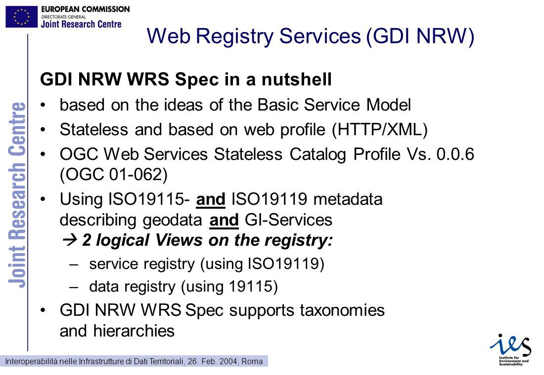 Interoperabilità nelle Infrastrutture di Dati Territoriali, 26. Feb. 2004, Roma Web Registry Services (GDI NRW) GDI NRW WRS Spec in a nutshell based o