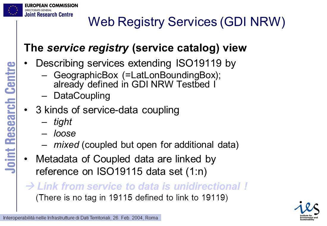 Interoperabilità nelle Infrastrutture di Dati Territoriali, 26. Feb. 2004, Roma Web Registry Services (GDI NRW) The service registry (service catalog)