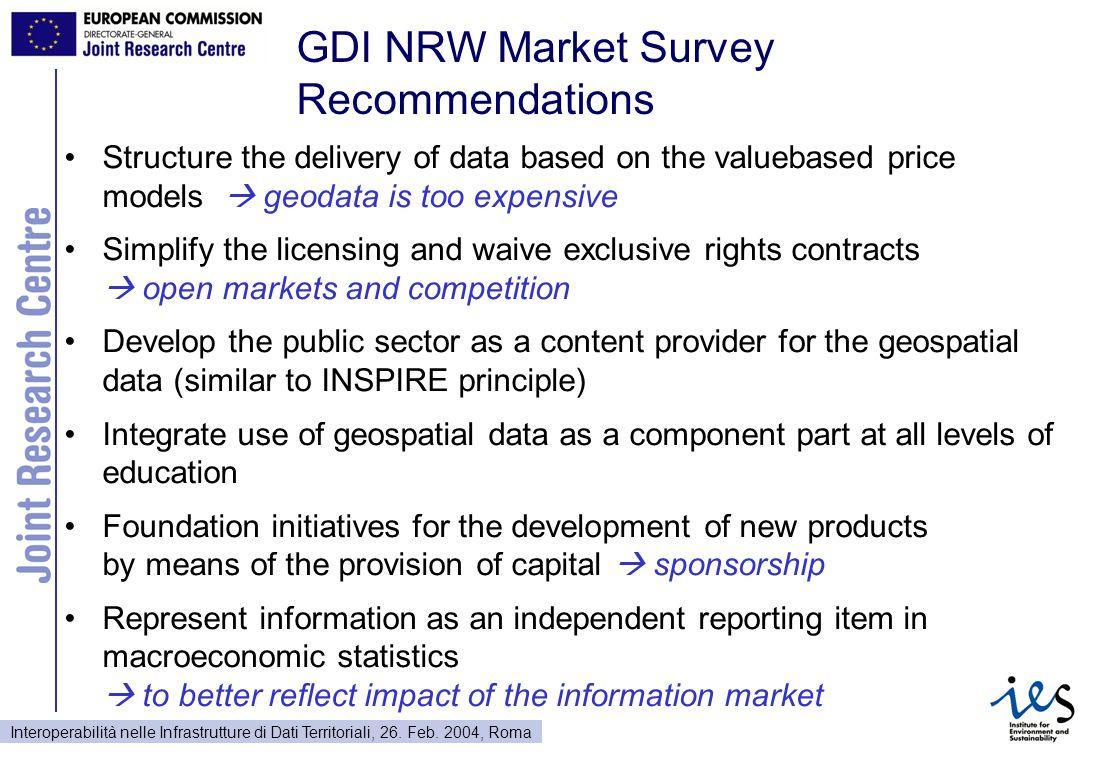 Interoperabilità nelle Infrastrutture di Dati Territoriali, 26. Feb. 2004, Roma GDI NRW Market Survey Recommendations Structure the delivery of data b