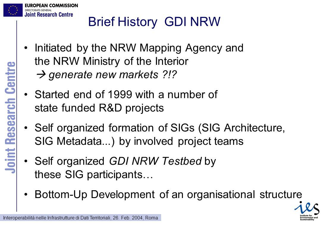 Interoperabilità nelle Infrastrutture di Dati Territoriali, 26. Feb. 2004, Roma Brief History GDI NRW Initiated by the NRW Mapping Agency and the NRW