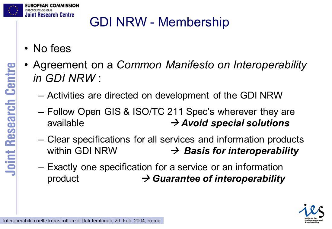 Interoperabilità nelle Infrastrutture di Dati Territoriali, 26. Feb. 2004, Roma GDI NRW - Membership No fees Agreement on a Common Manifesto on Intero