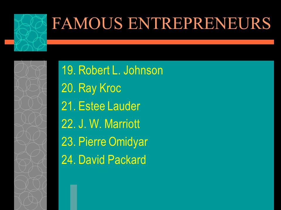 FAMOUS ENTREPRENEURS 19.Robert L. Johnson 20. Ray Kroc 21.