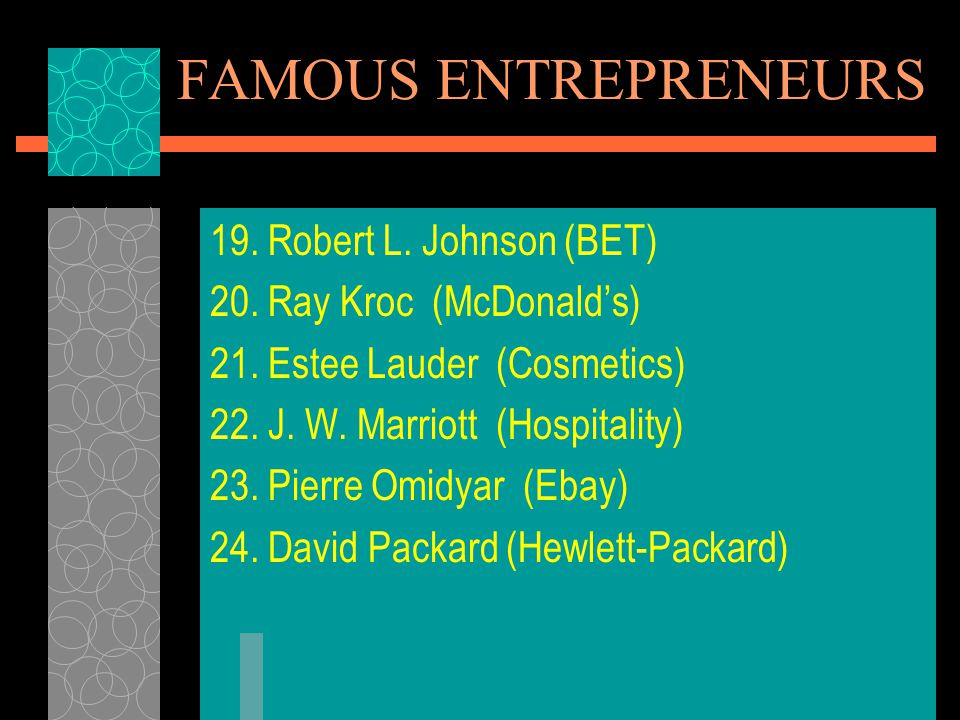 FAMOUS ENTREPRENEURS 19.Robert L. Johnson (BET) 20.