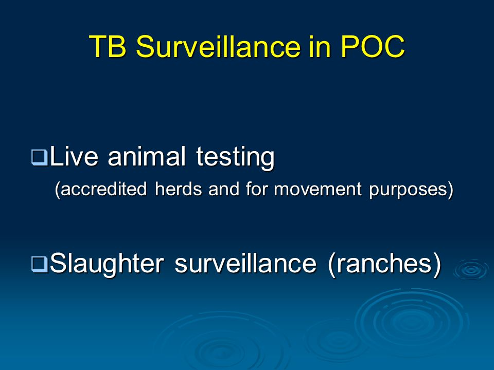 TB Surveillance in POC  Live animal testing (accredited herds and for movement purposes)  Slaughter surveillance (ranches)