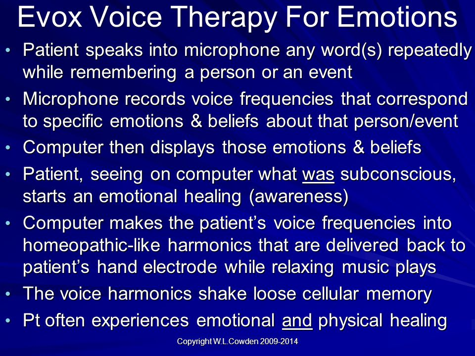 Evox Voice Therapy For Emotions Patient speaks into microphone any word(s) repeatedly while remembering a person or an event Patient speaks into micro