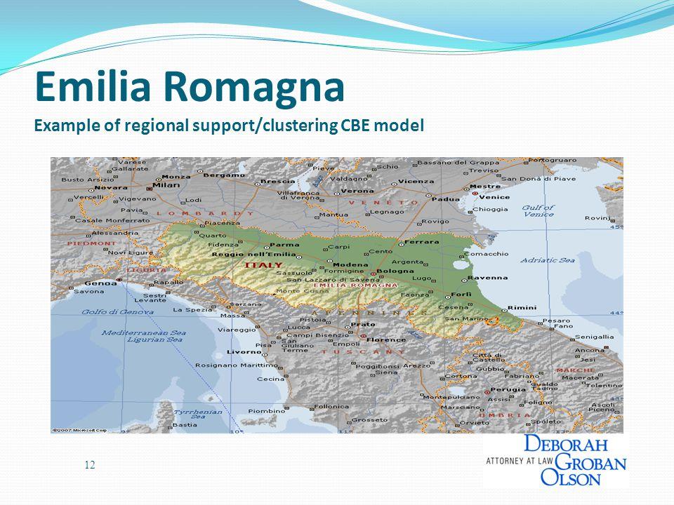 Emilia Romagna Example of regional support/clustering CBE model 12