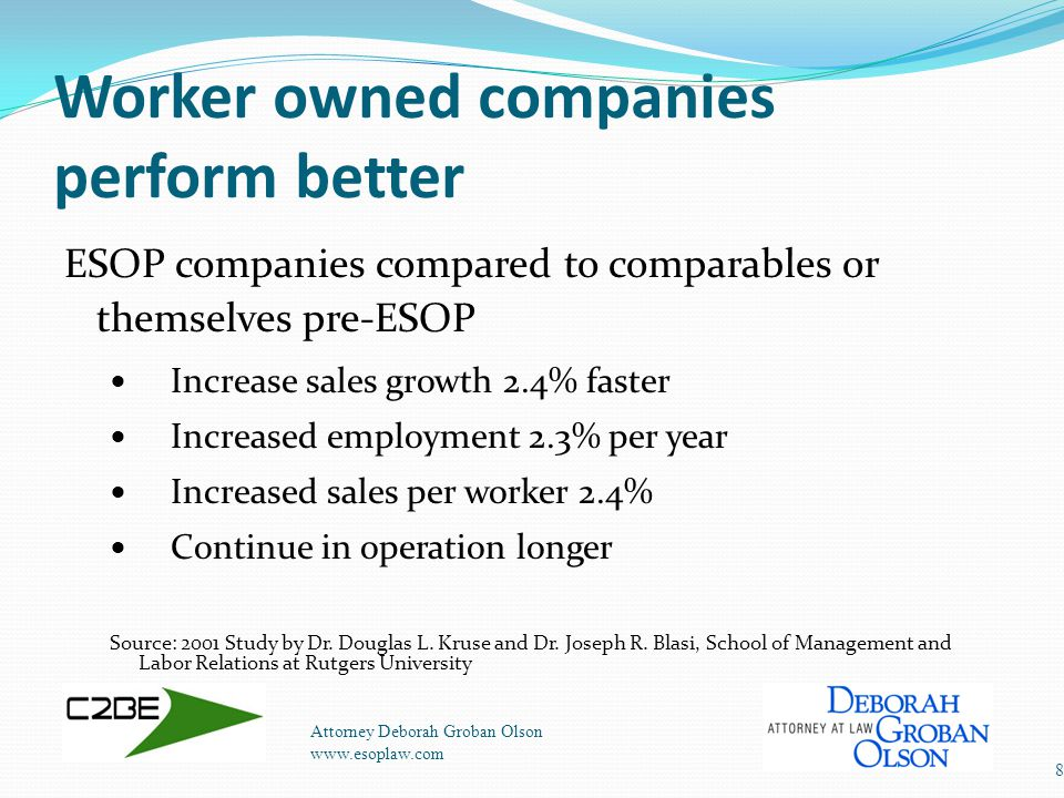 Worker owned companies perform better Attorney Deborah Groban Olson www.esoplaw.com 8 ESOP companies compared to comparables or themselves pre-ESOP Increase sales growth 2.4% faster Increased employment 2.3% per year Increased sales per worker 2.4% Continue in operation longer Source: 2001 Study by Dr.