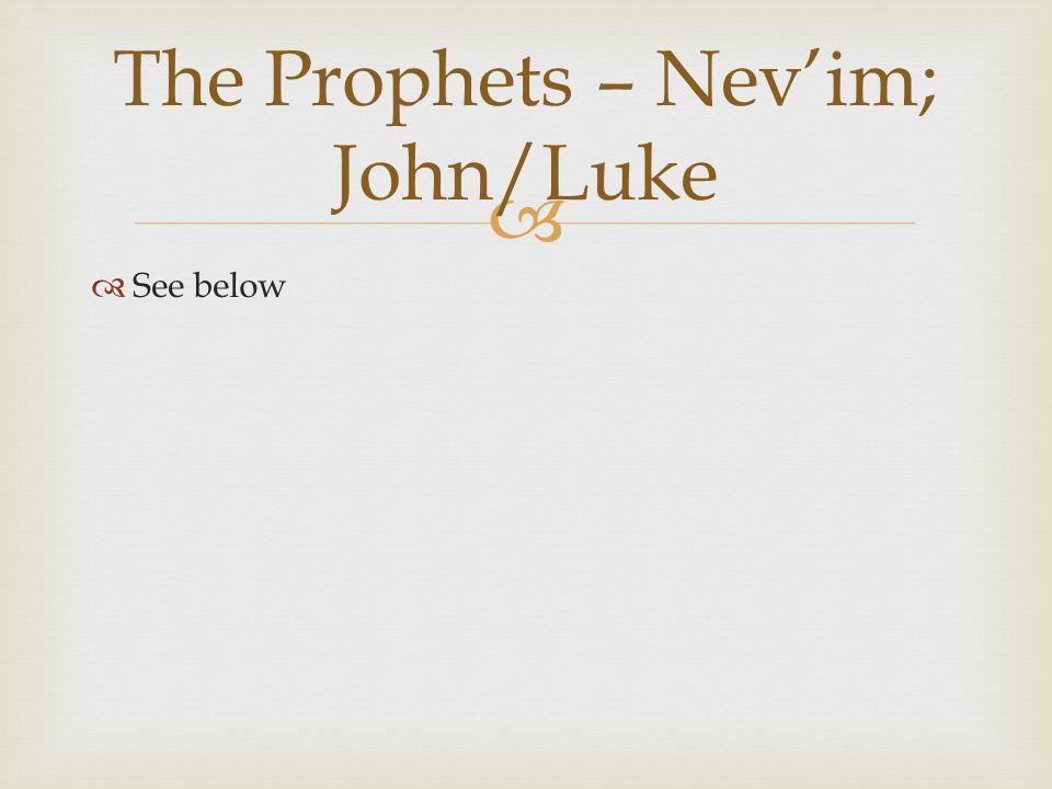   See below The Prophets – Nev'im; John/Luke