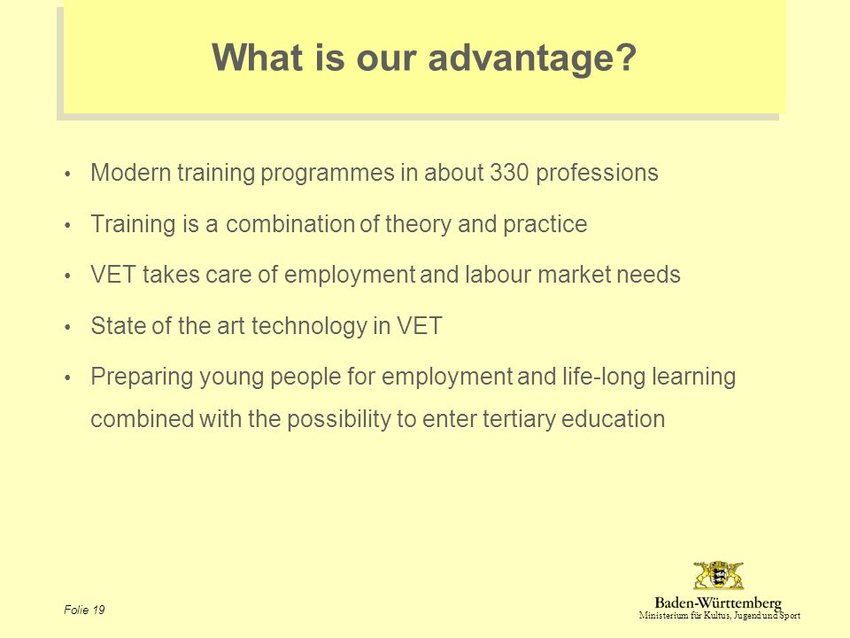 Ministerium für Kultus, Jugend und Sport Folie 19 What is our advantage? Modern training programmes in about 330 professions Training is a combination