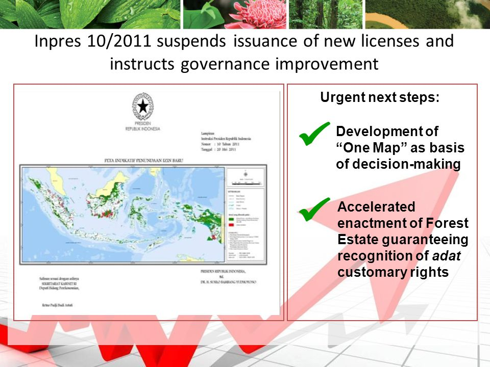 9 Inpres 10/2011 suspends issuance of new licenses and instructs governance improvement Development of One Map as basis of decision-making Accelerated enactment of Forest Estate guaranteeing recognition of adat customary rights Urgent next steps: