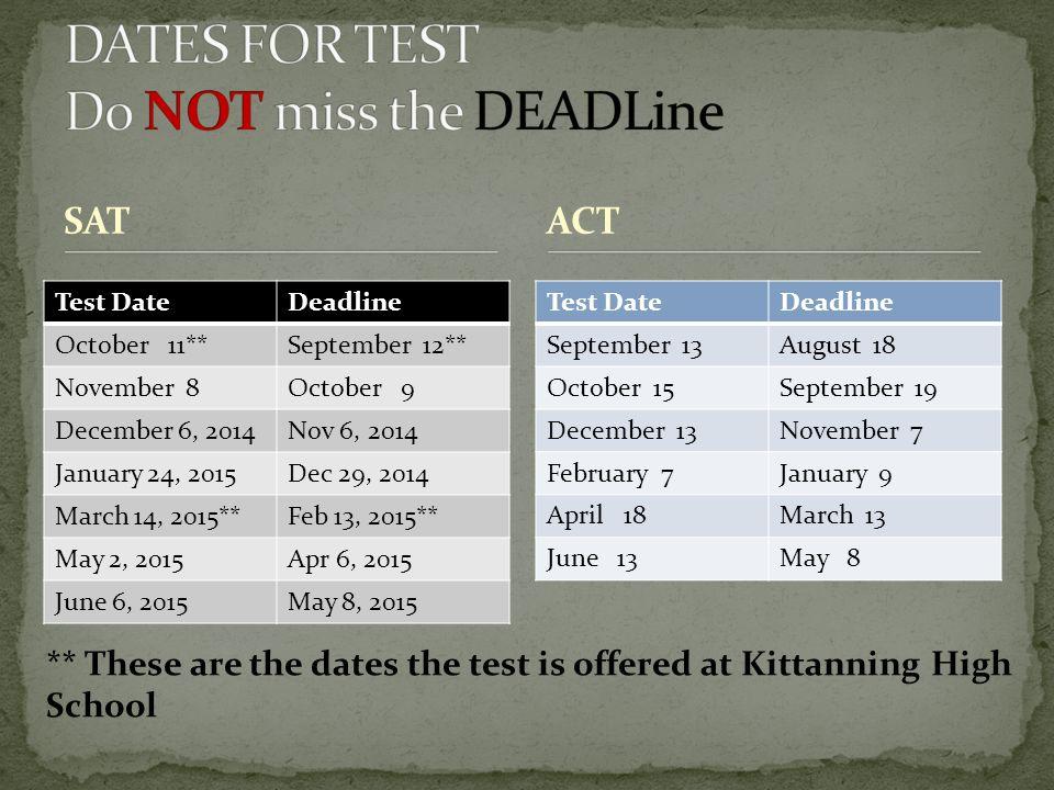 SAT Test DateDeadline September 13August 18 October 15September 19 December 13November 7 February 7January 9 April 18March 13 June 13May 8 ACT Test Da