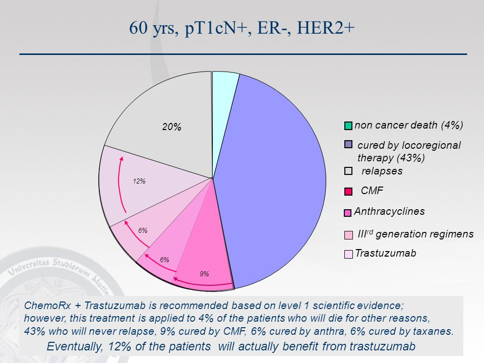 9% 6% 12% 20% non cancer death (4%) relapses CMF Anthracyclines III rd generation regimens Trastuzumab cured by locoregional therapy (43%) ChemoRx + Trastuzumab is recommended based on level 1 scientific evidence; however, this treatment is applied to 4% of the patients who will die for other reasons, 43% who will never relapse, 9% cured by CMF, 6% cured by anthra, 6% cured by taxanes.