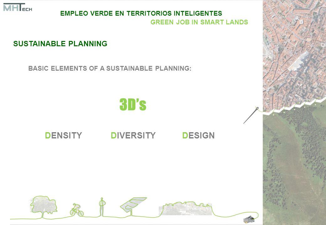SUSTAINABLE PLANNING BASIC ELEMENTS OF A SUSTAINABLE PLANNING: DENSITYDIVERSITYDESIGN 3D's EMPLEO VERDE EN TERRITORIOS INTELIGENTES GREEN JOB IN SMART LANDS