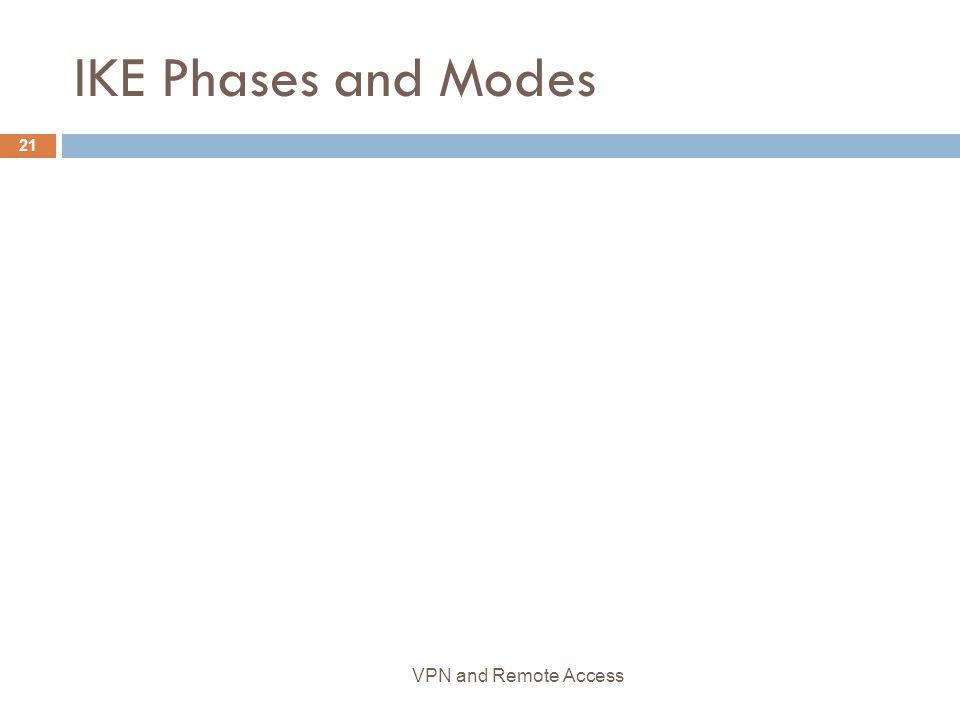 IKE Phases and Modes 21 VPN and Remote Access