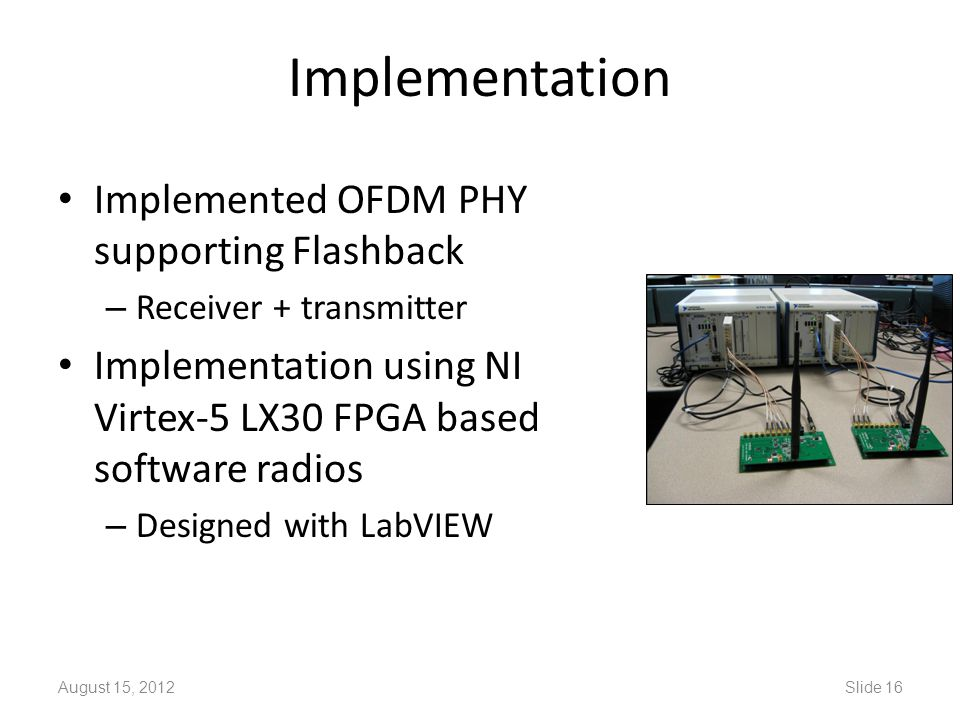 Implementation Implemented OFDM PHY supporting Flashback – Receiver + transmitter Implementation using NI Virtex-5 LX30 FPGA based software radios – D