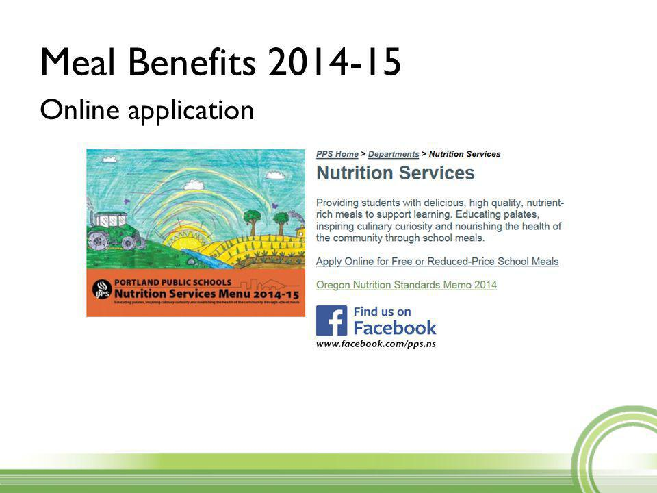 Meal Benefits 2014-15 Online application