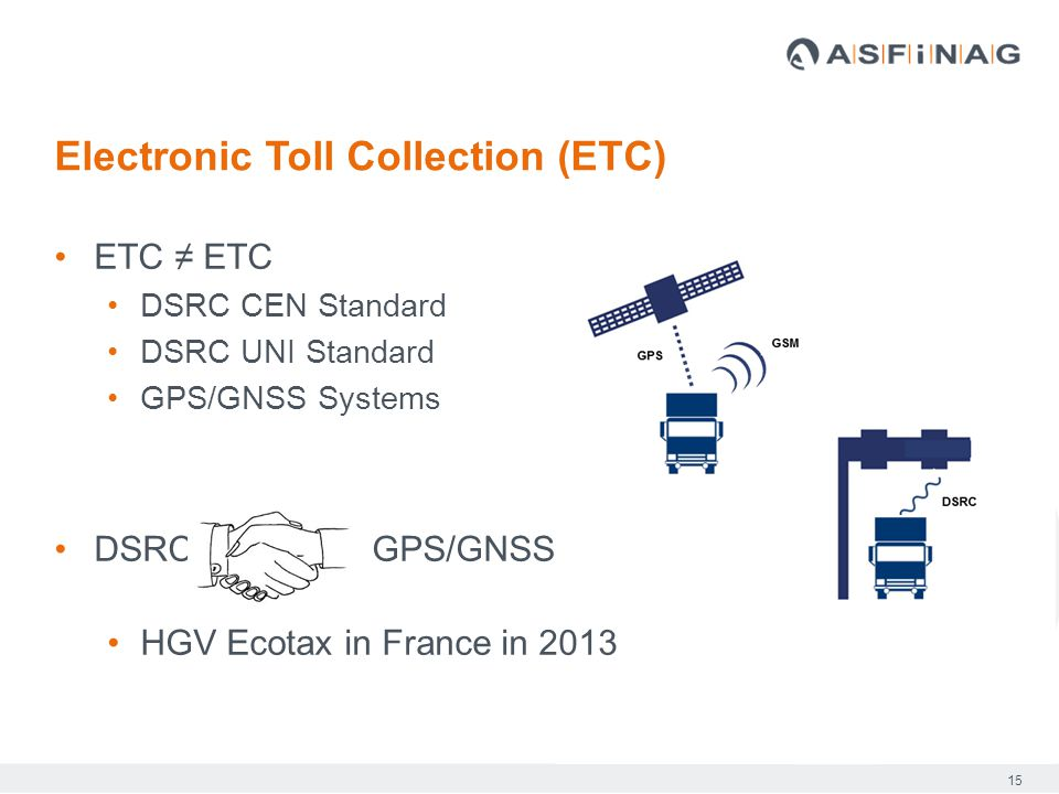15 ETC ≠ ETC DSRC CEN Standard DSRC UNI Standard GPS/GNSS Systems DSRC GPS/GNSS HGV Ecotax in France in 2013 Electronic Toll Collection (ETC)