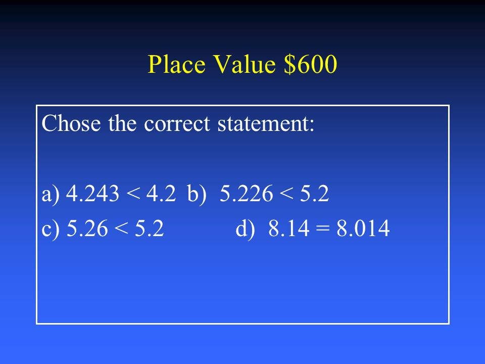 Place Value $400 What is the expanded form of 425.261 a) 4,000+200+5+.2+.06+.001 b) 400+20+5+.02+.006+.0001 c) 400+20+5+.2+.06+.001 d) 400+50+2+.2+.06+.001