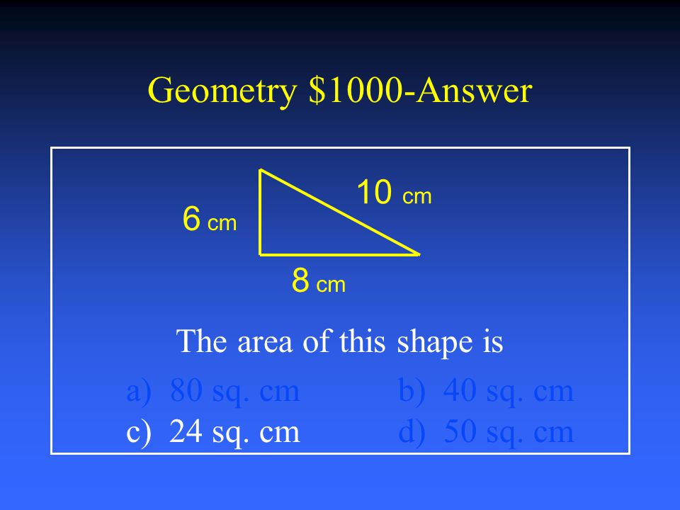 Geometry $800-Answer What formula below measures volume.