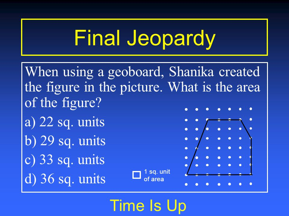 Final Jeopardy You have 15 seconds When using a geoboard, Shanika created the figure in the picture.