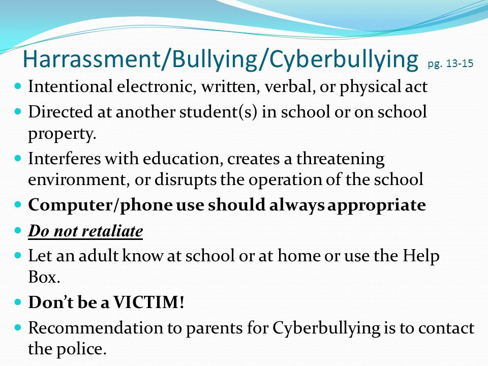 Harrassment/Bullying/Cyberbullying pg.
