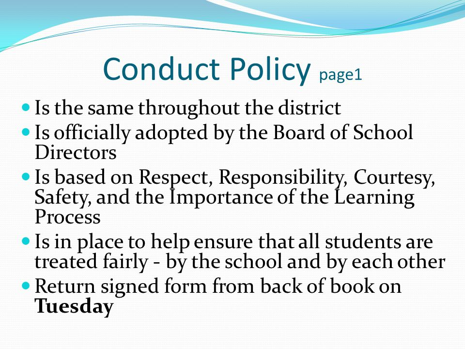 Extra-Curricular Activities Athletes are held to higher standards of behavior Activities are a privilege, not a right (for spectators and for athletes) You represent the school, coach, parents, and yourself Discipline may lead to loss of privilege Academic eligibility is required