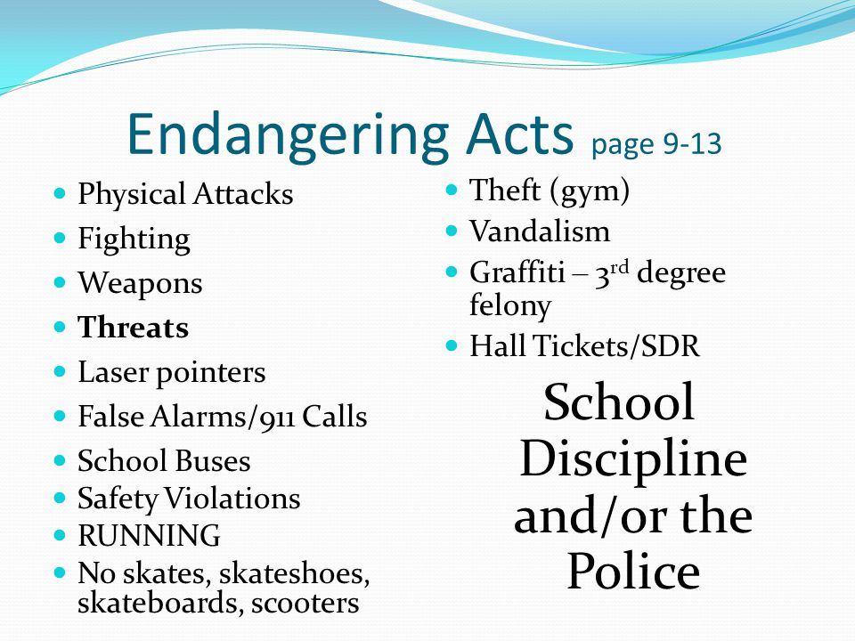Search and Seizure page 16-17 No expectation of privacy in lockers or other storage areas Personal search at anytime with reasonable suspicion Canine search – lockers, classrooms containing personal belongings (not students)