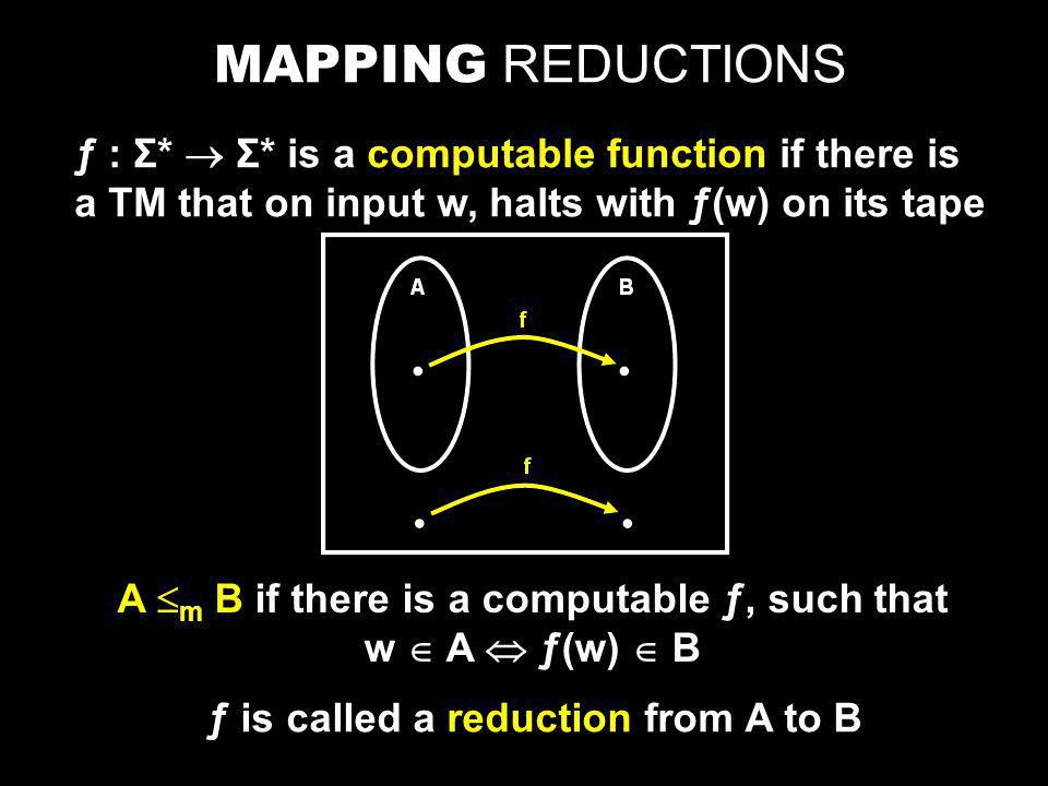 MAPPING REDUCTIONS ƒ : Σ*  Σ* is a computable function if there is a TM that on input w, halts with ƒ(w) on its tape A  m B if there is a computable