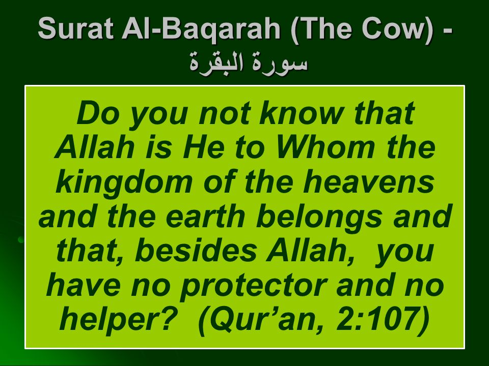 Surat Al-Baqarah (The Cow) - سورة البقرة Do you not know that Allah is He to Whom the kingdom of the heavens and the earth belongs and that, besides Allah, you have no protector and no helper.