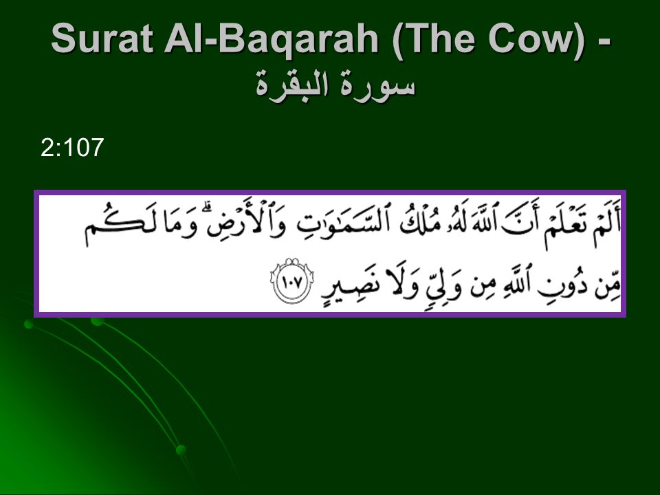 Surat Al-Baqarah (The Cow) - سورة البقرة 2:107