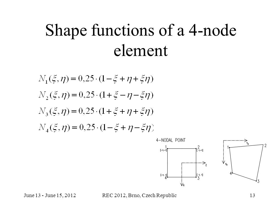 June 13 - June 15, 2012REC 2012, Brno, Czech Republic13 Shape functions of a 4-node element