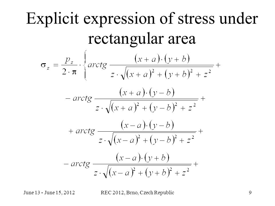 June 13 - June 15, 2012REC 2012, Brno, Czech Republic9 Explicit expression of stress under rectangular area