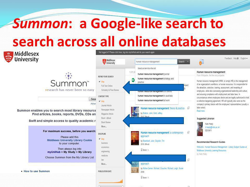 Summon: a Google-like search to search across all online databases