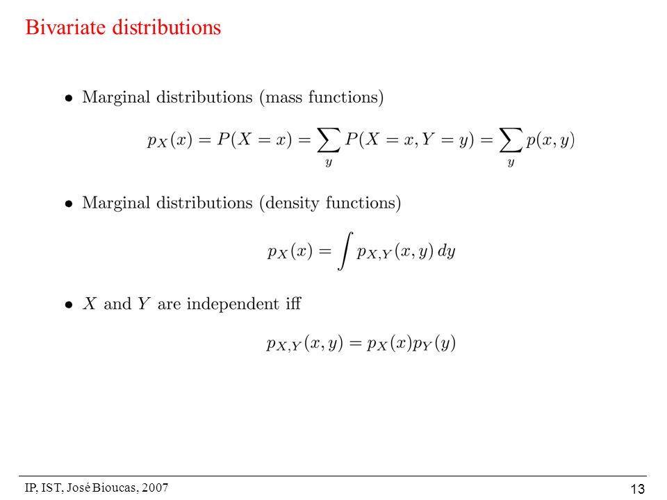IP, IST, José Bioucas, 2007 13 Bivariate distributions