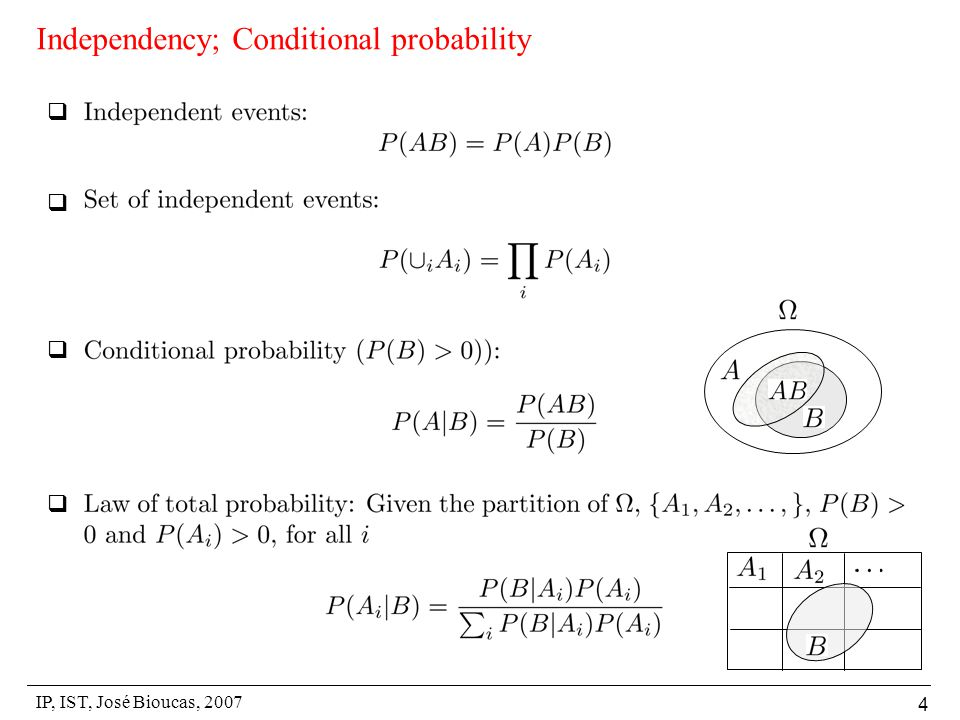 IP, IST, José Bioucas, 2007 4 Independency; Conditional probability    